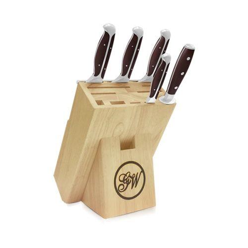 6 Piece Cutlery Knife Set| Large Wood Block
